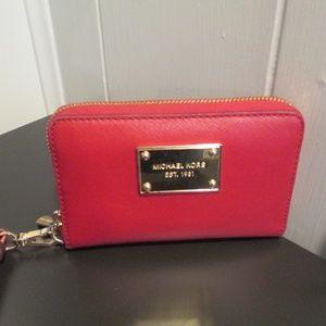 Michael Kors Small Jet Set Zip Wristlet Wallet Red